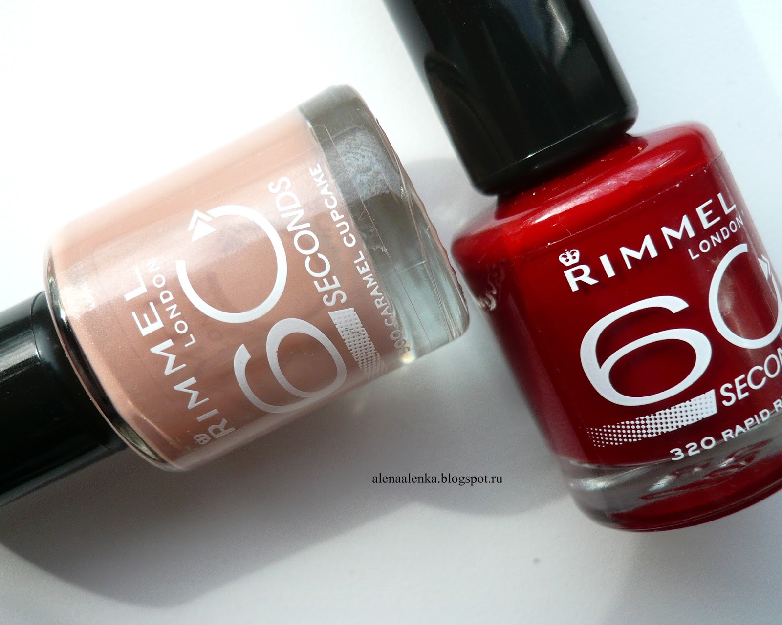Rimmel 60 seconds #500 Caramel Cupcake & #320 Rapid Ruby, Красный лак, нюд,