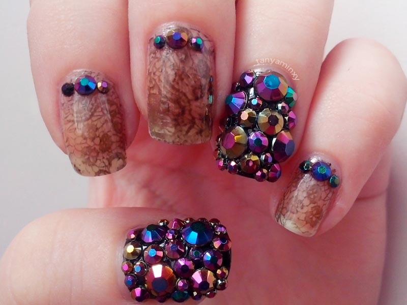 Lace Negative Space Nail Art Iridescent Multichrome Rhinestones BPS Nails Nail Art Nail Design