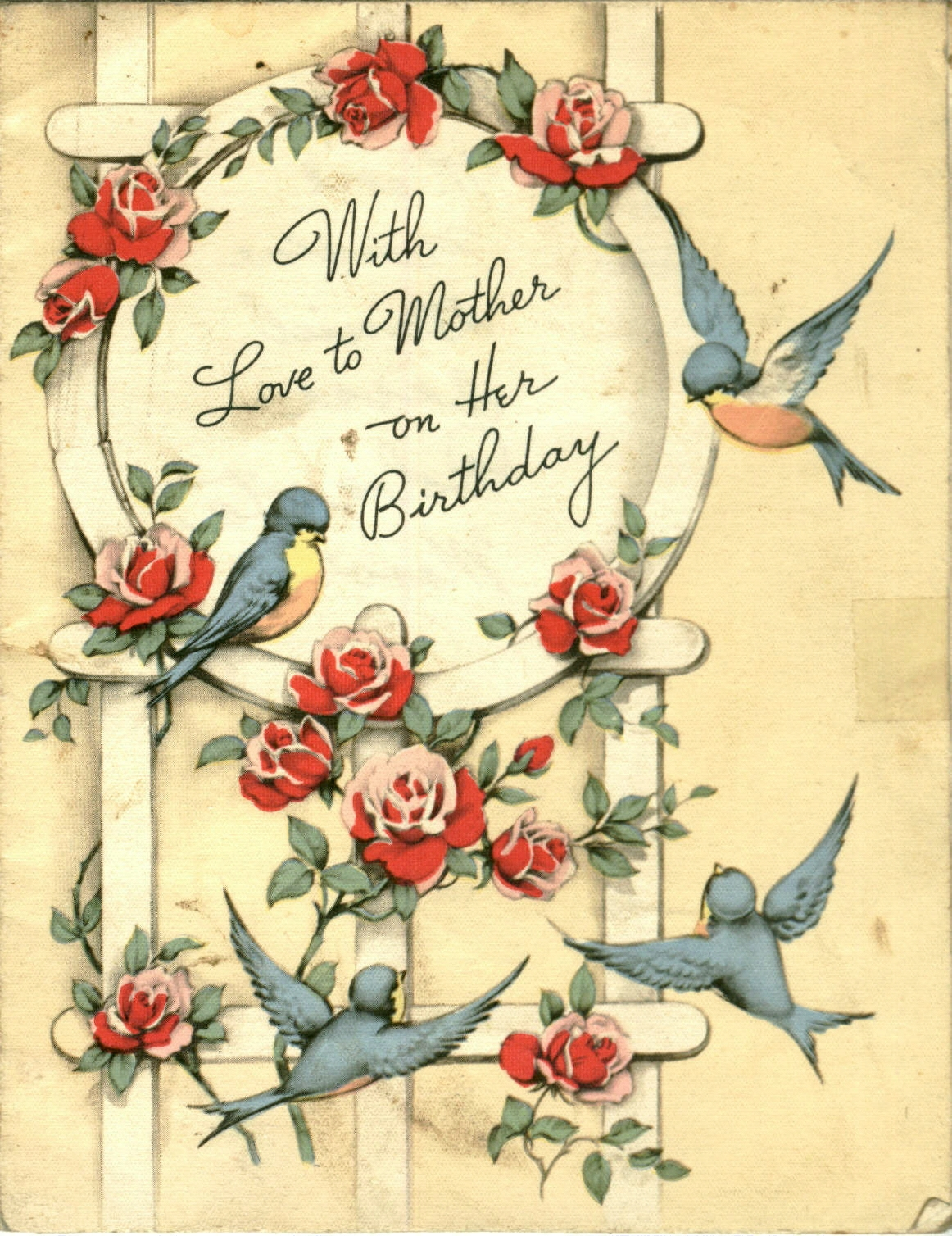 The best hearts are crunchy with love to mother sunday scans this is one of grammies wonderful cards i love the flowers and the little bluebirds they seem so fat and happy the flowers are blooming the birds are m4hsunfo Image collections