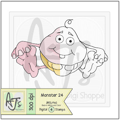 Monster 24 Black/White and Color Digital Stamp