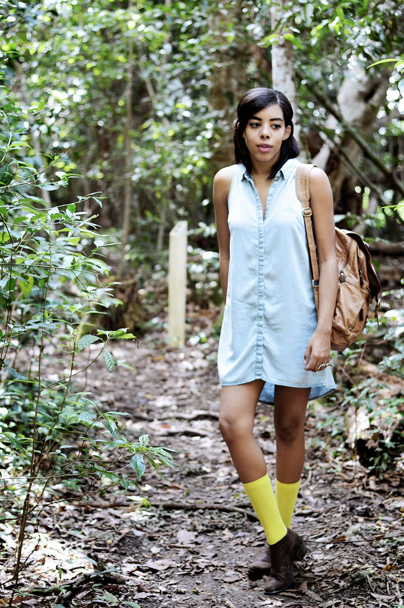 Miami fashion blogger Anais Alexandre of Down to Stars in an H&M chambray dress with neon socks from Target and boots by Matisse