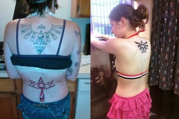 Hot teenage Girls with Zelda triforce and whispering eye tattoo on their back