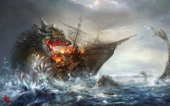 guicaimumu artista chinês ilustrações fantasia card games Monstro marinho atacando navio