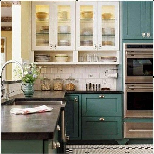 turquoise kitchen cabinets with glass