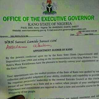 sanusi lamido emir kano appointment letter