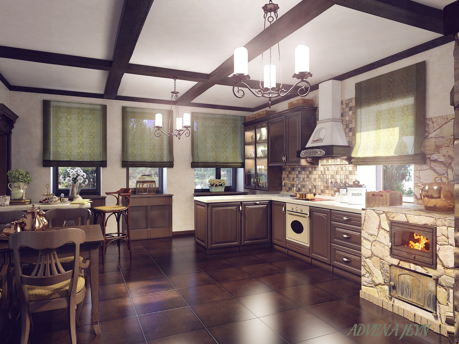 фото интерьера кухни частного дом