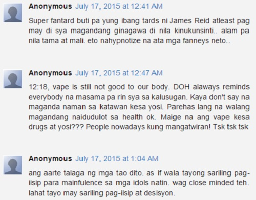 Daniel Padilla vaping on the set comments