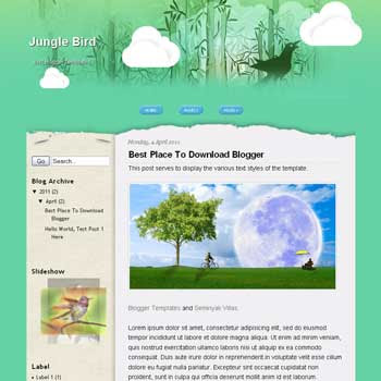Jungle Bird Blogger Template. blogger template from wordpress theme. music blogger template