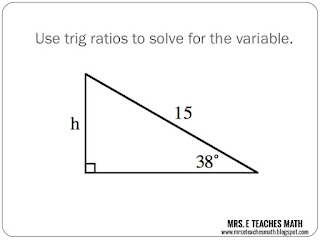 Mrs. E Teaches Math:  Trig Ratio Practice - free powerpoint download for student practice