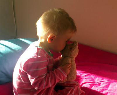 baby kissing Steiff teddy