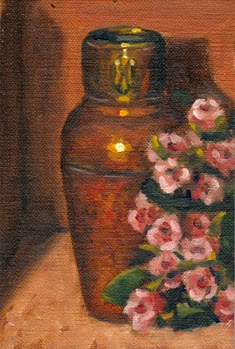 Oil painting of an Art Deco-style copper vase beside a plastic bunch of small pink flowers.
