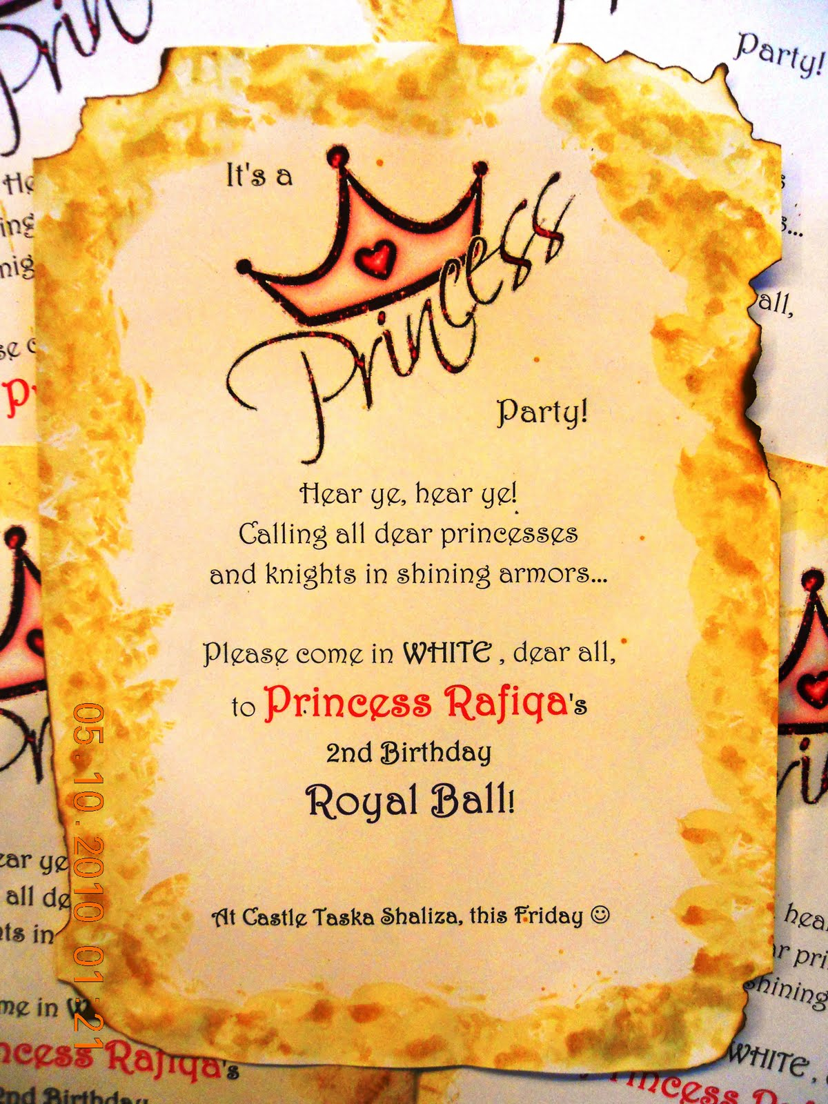 Kids fun party princess rafiqas 2nd birthday royal ball invitation antique look was done by dabbing wet tea bags stopboris Image collections