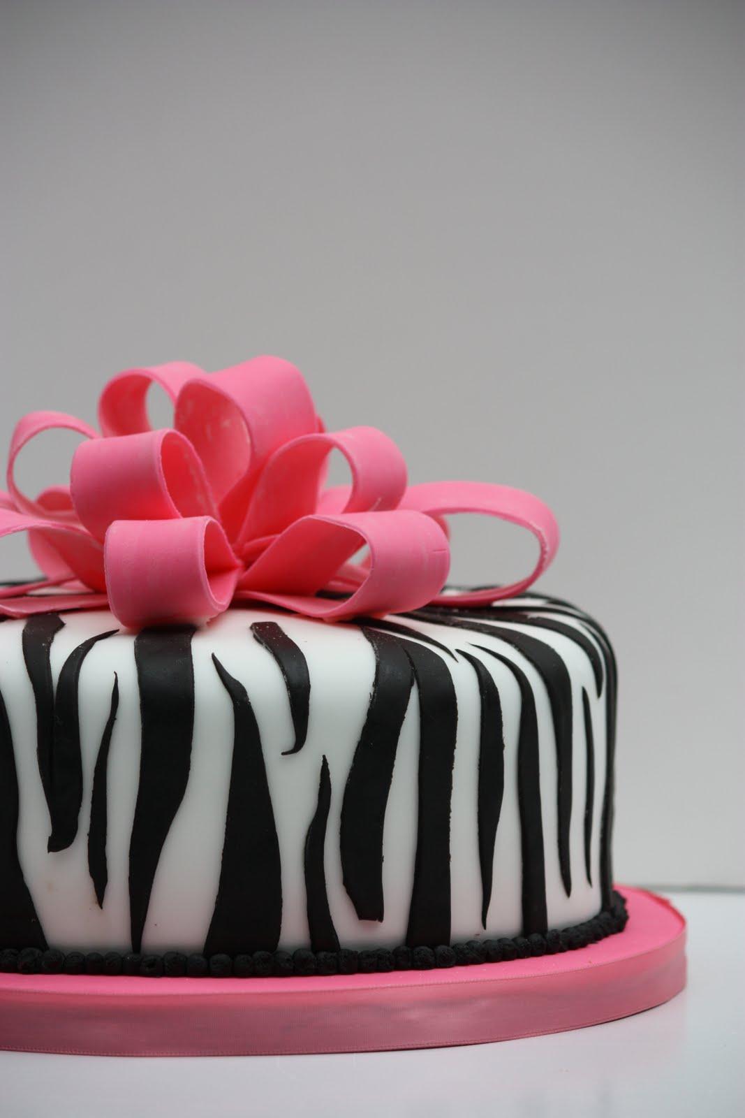 Whimsical by Design Hot Pink Bows Zebra Print Cake