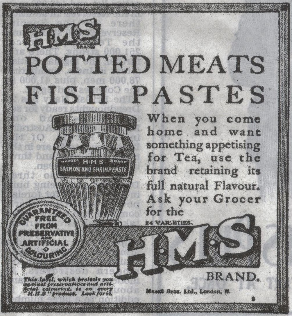 1914 advert for meat paste