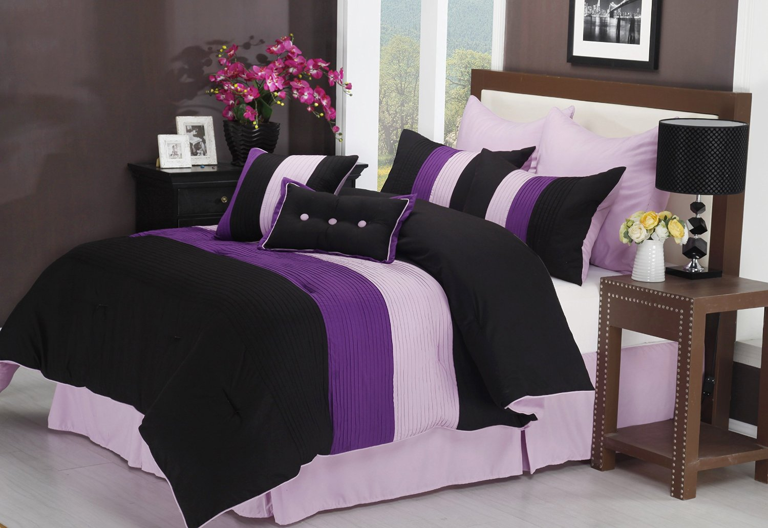 Black and white and purple bedrooms - 8 Pc Contemporary Black White And Purple Bedding Comforter Set