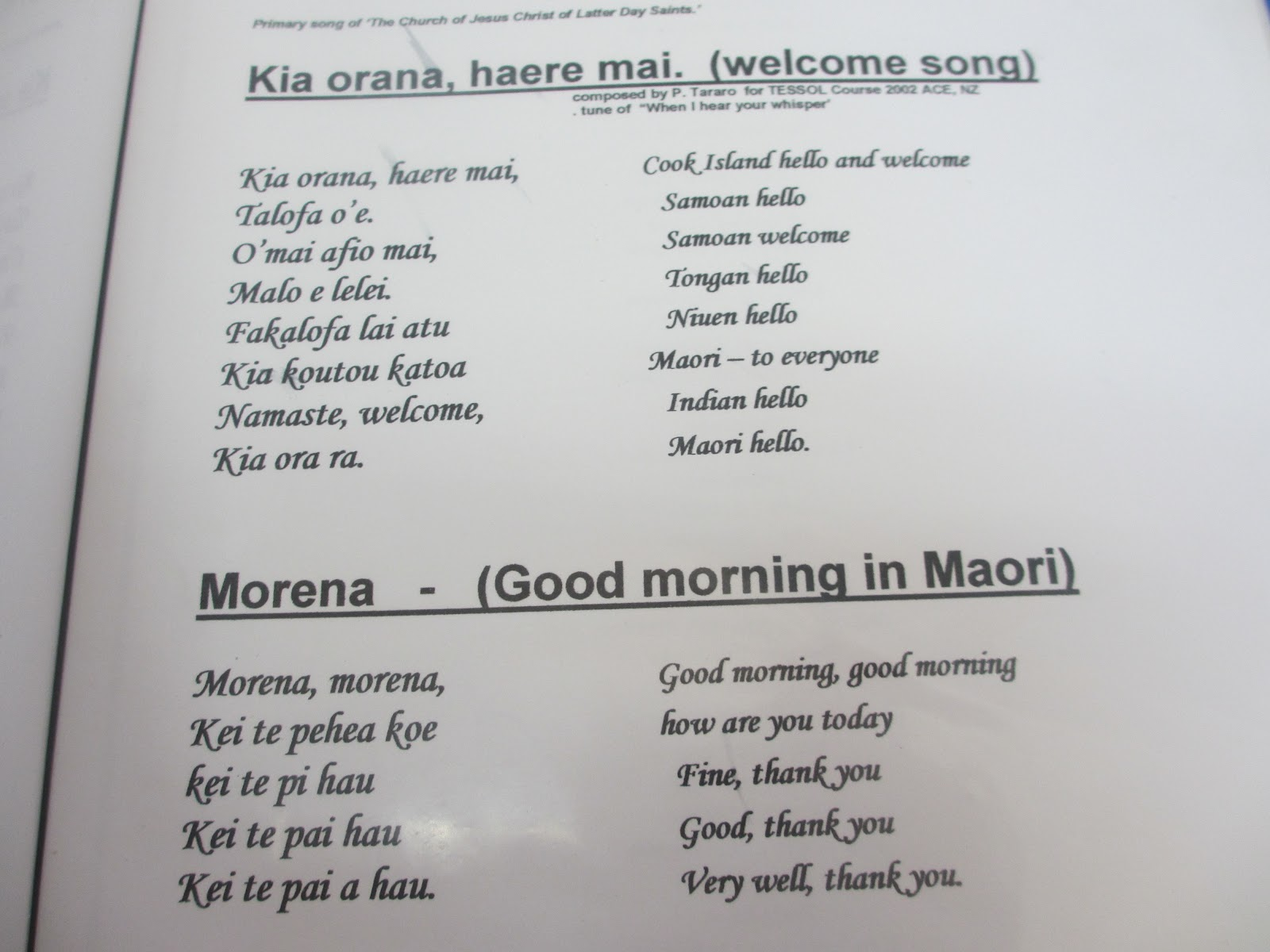 Kia ora culture culture culture here are the greetings for the different cultures in my class that my teacher would call out each morning m4hsunfo