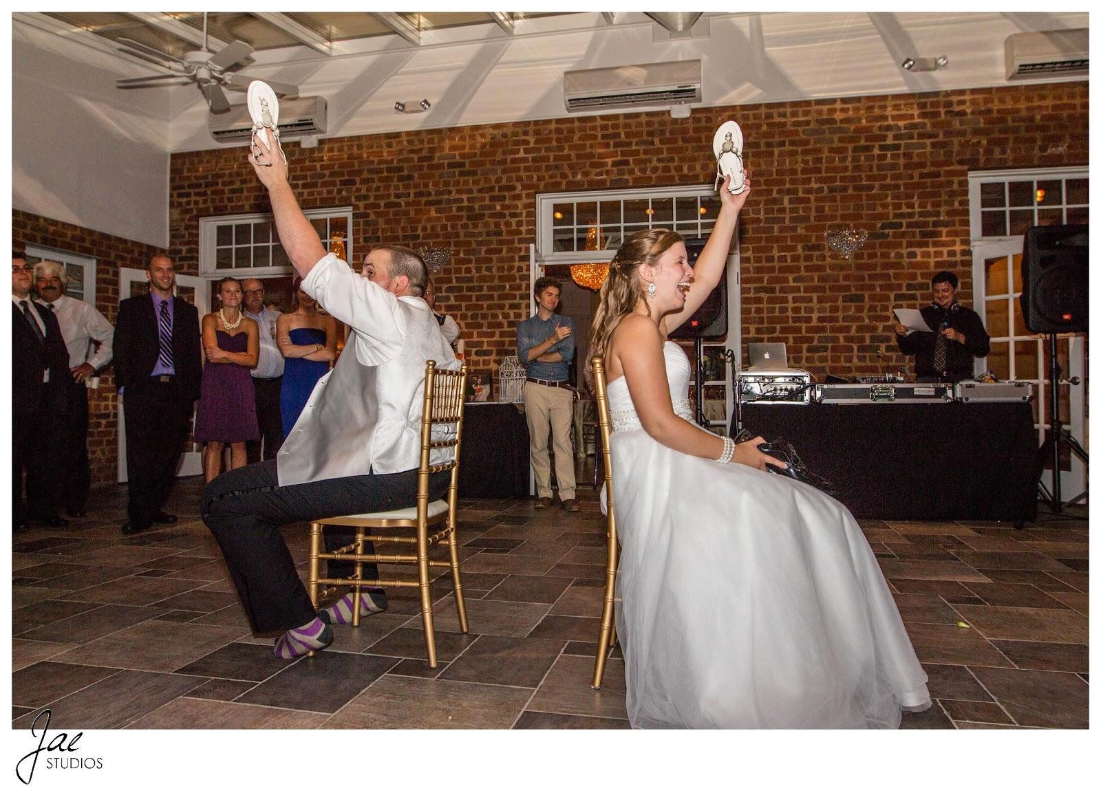 Jonathan and Julie, Bird cage, West Manor Estate, Wedding, Lynchburg, Virginia, Jae Studios, bride, groom, game, shoes, wedding dress, tuxedo, reception