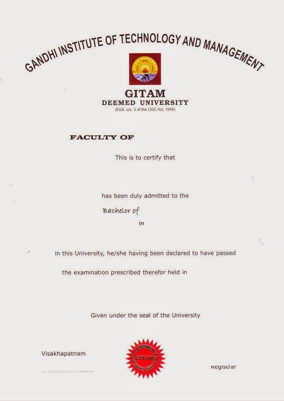 Gitam Certificates Gitam Original Degree Certificate