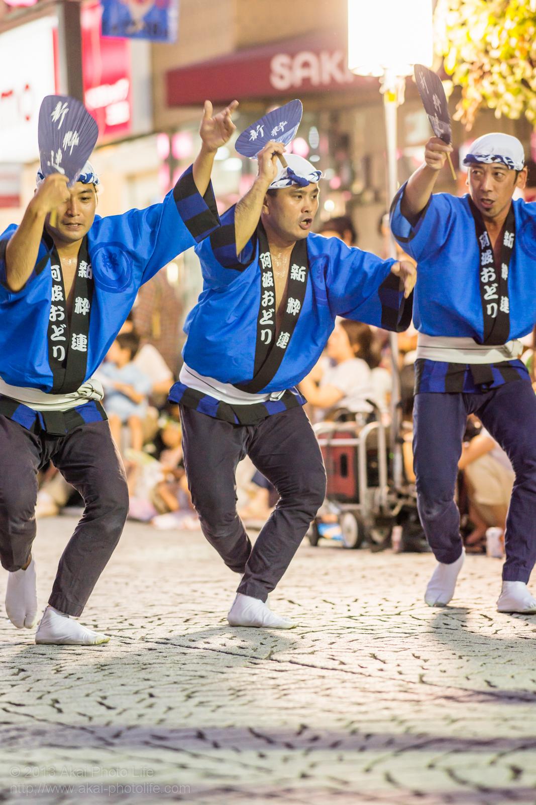 三鷹阿波踊り、新粋連のチームワークが良い男踊り