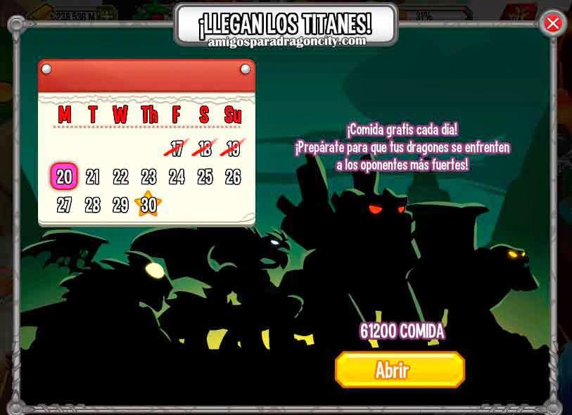 imagen del calendario de comida de dragon city