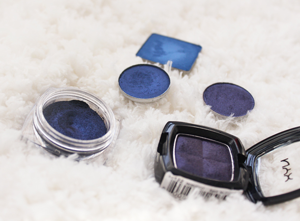 blue navy eyeshadow swatches dupes mac nyx inglot l'oreal morocco deep truth