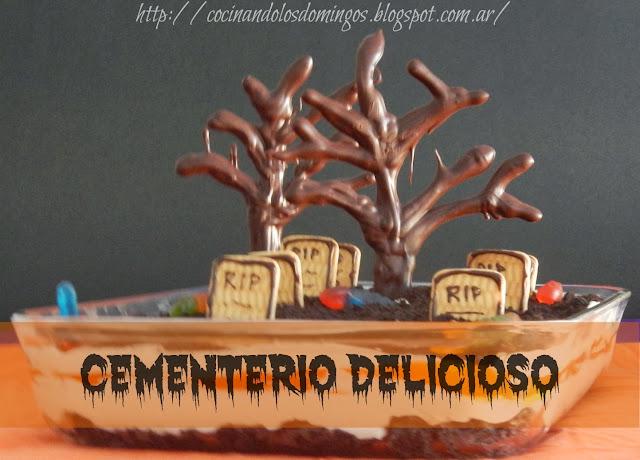 postre de halloween cementerio delicioso