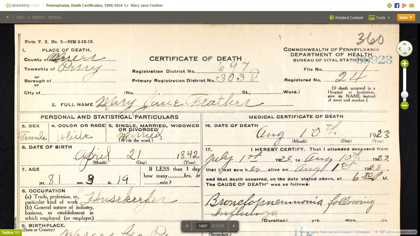 Genea musings pennsylvania death certificates 1906 1924 now on this death certificate for mary jane feather has lots of very useful information including birth date birth place death date death place parents names aiddatafo Images