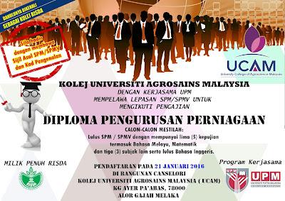 Fakulti Pengurusan Perniagaan Kolej Universiti Agrosains Malaysia Pendaftaran Diploma Pengurusan Perniagaan Sem 2 15 16