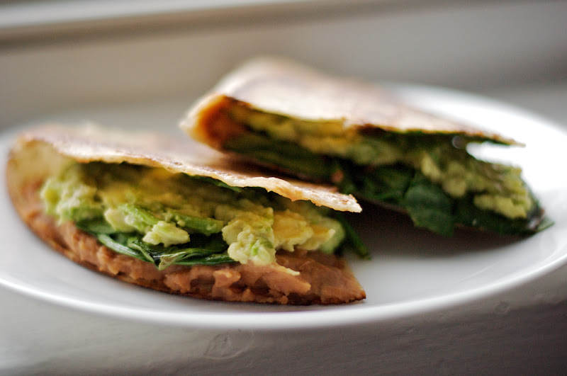 ... quesadilla with fat free spicy refried beans, spinach and avocado. So