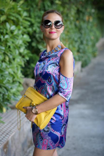 satin mini dress, round sunglasses, paisley dress, Fashion and Cookies, fashion blogger