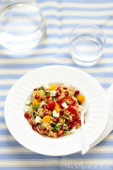 Taboulé de boulgour, tomates, orange et grenade