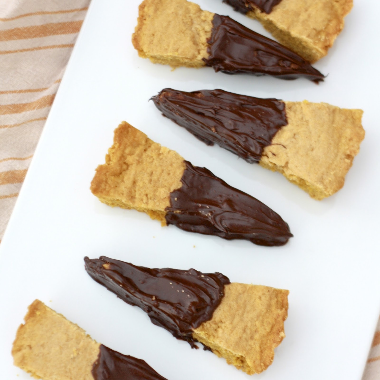 Chocolate Dipped Pumpkin Shortbread | The Sweets Life