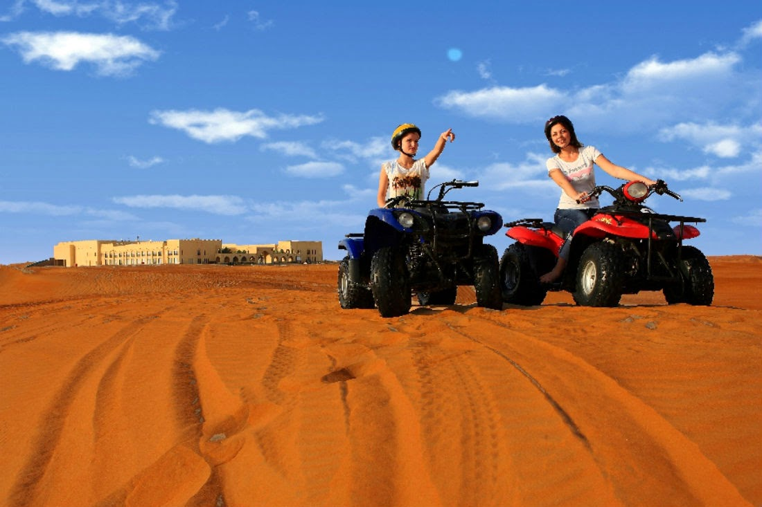 A range of outdoor activities are also available at the hotel, such as sand boarding, cycling through the desert, camel riding and quad bike safaris