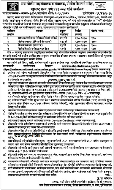 Post Details Police Bharti 2015