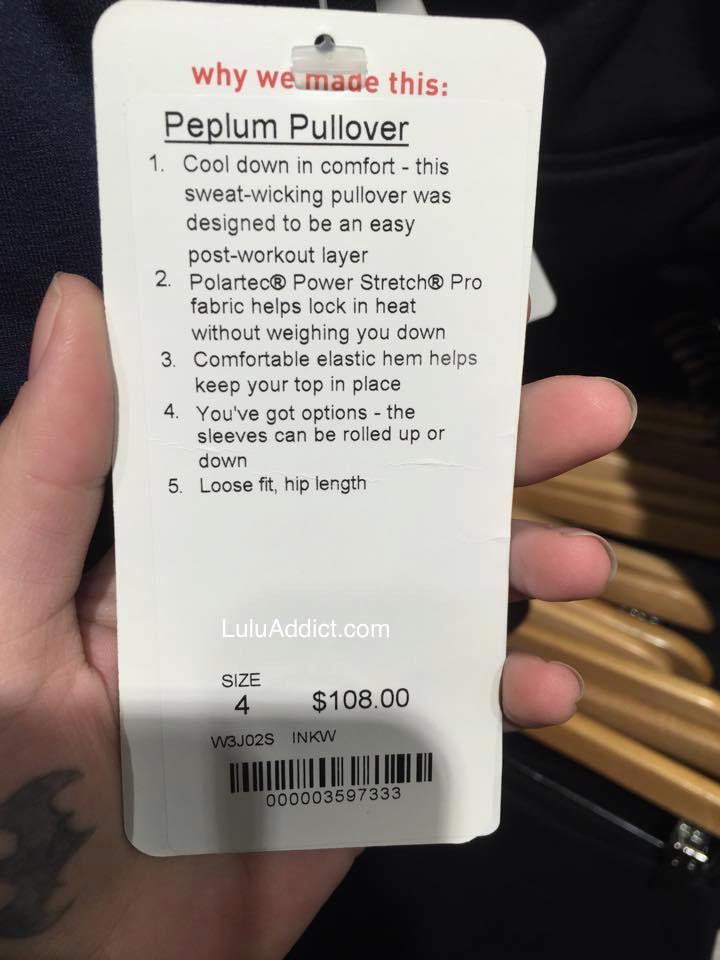 lululemon peplum pullover price tag