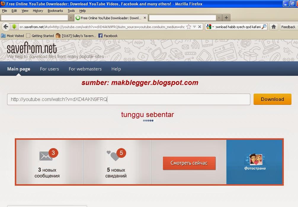 Ini adalah tampilan awal savefrom.net