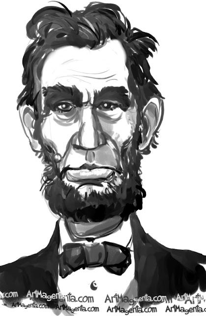 Abraham Lincoln caricature cartoon. Portrait drawing by caricaturist Artmagenta