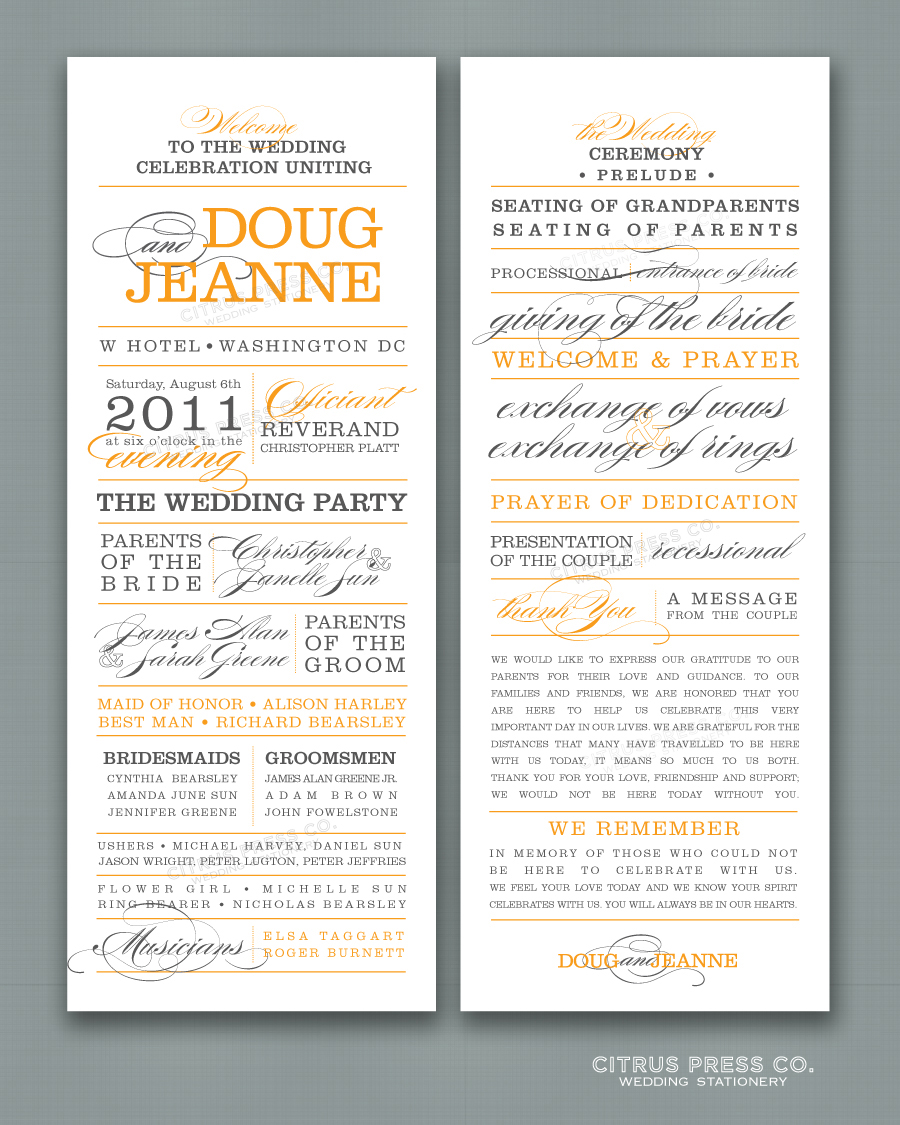 what to include in your wedding program citrus press co invitations