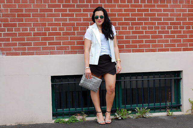 White Stylestalker vest, Zara skort, Zara shirt, Ela Handbags clutch, Alexis Bittar bangle, Chanel bangle and block heel sandals.