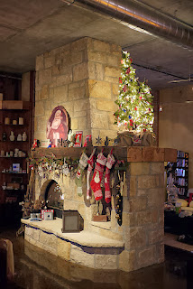 stockings, christmas, fireplace, santa, tree, decorations