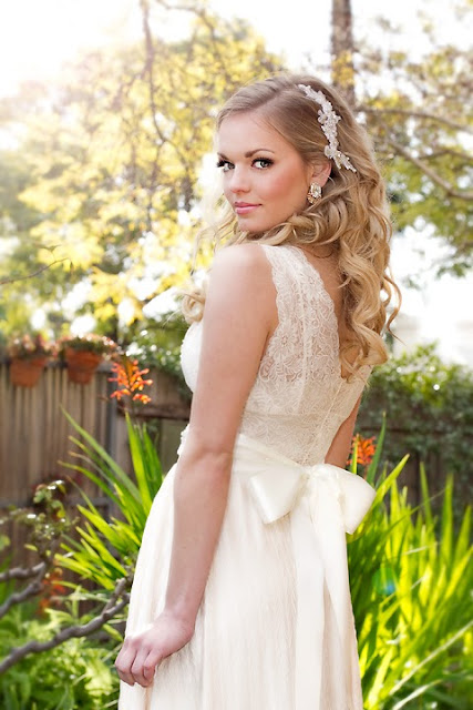 "Beautiful Bride + Lace Headpiece - ""Adele Headpiece"""