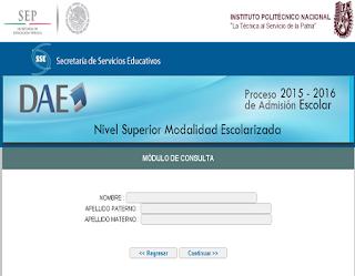 Resultados de exámen de admisión Politecnico IPN 2015-2016 Nivel Superior Modalidad Escolarizada