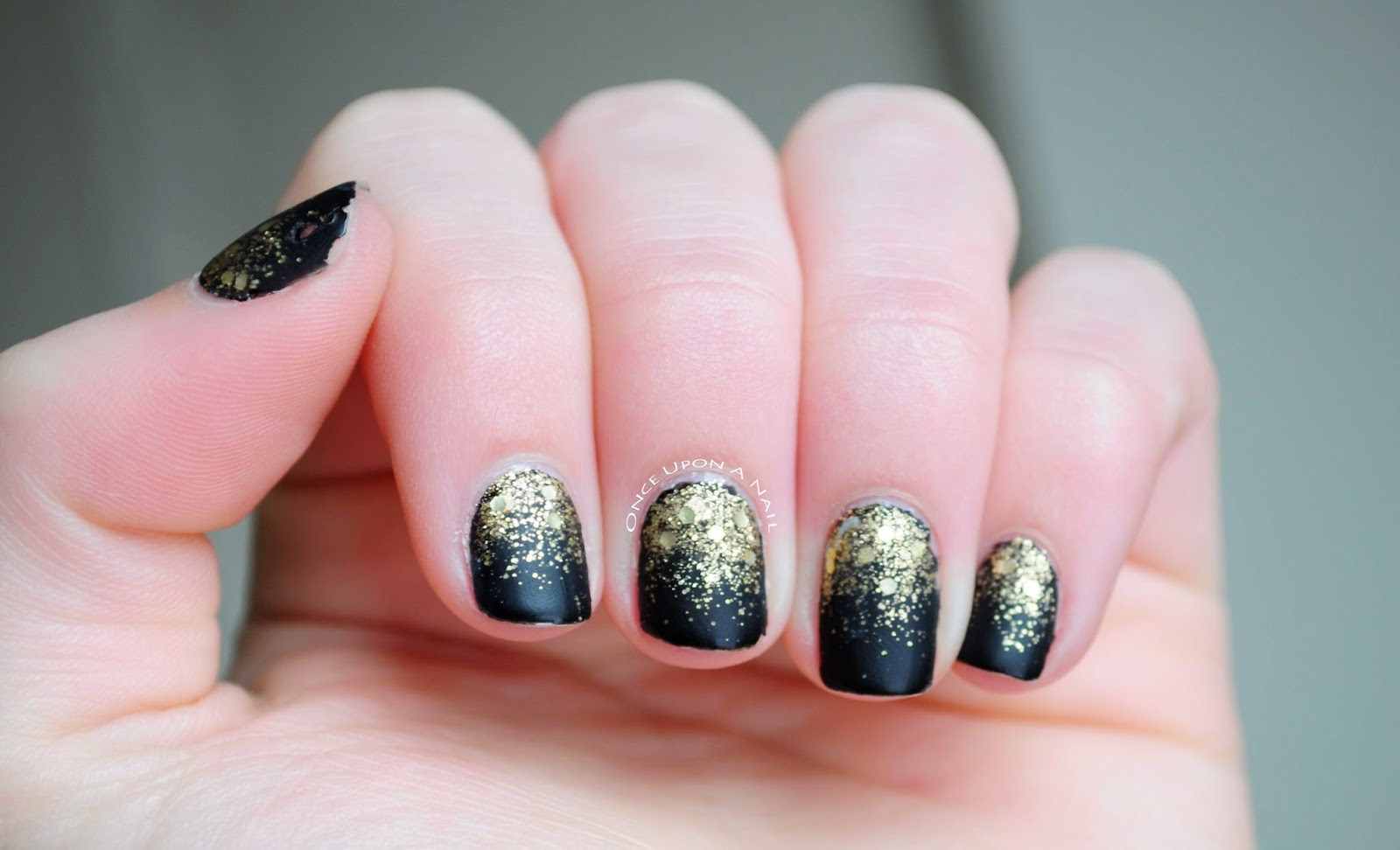 Once Upon A Nail: Black Matte Glitter Gradient