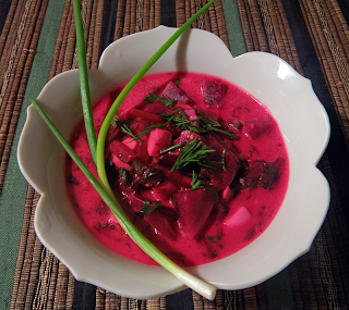 Bowl of Borscht, with Spring Onion and Chopped Dill