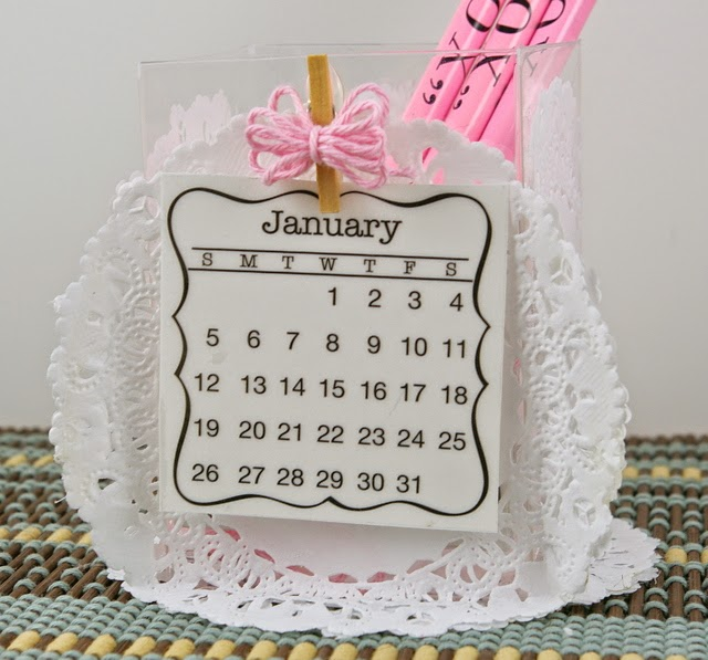 SRM Stickers Blog - Shabby Chic Mini Calendar by Michelle - #calendar #mini #twine #pencils #clearbox