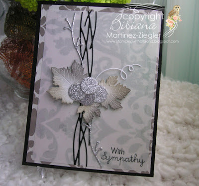 sympathy card with juicy grapes die front