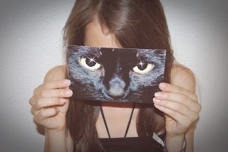 cat girl, girl with cat picture, Hipster