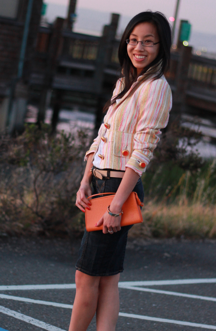 orange outfit blazer smile white tee louis vuitton epi denim skirt