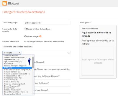 Como agregar un gadget de entrada destacada de Blogger