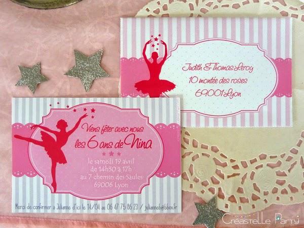 invitation et enveloppe ballerine